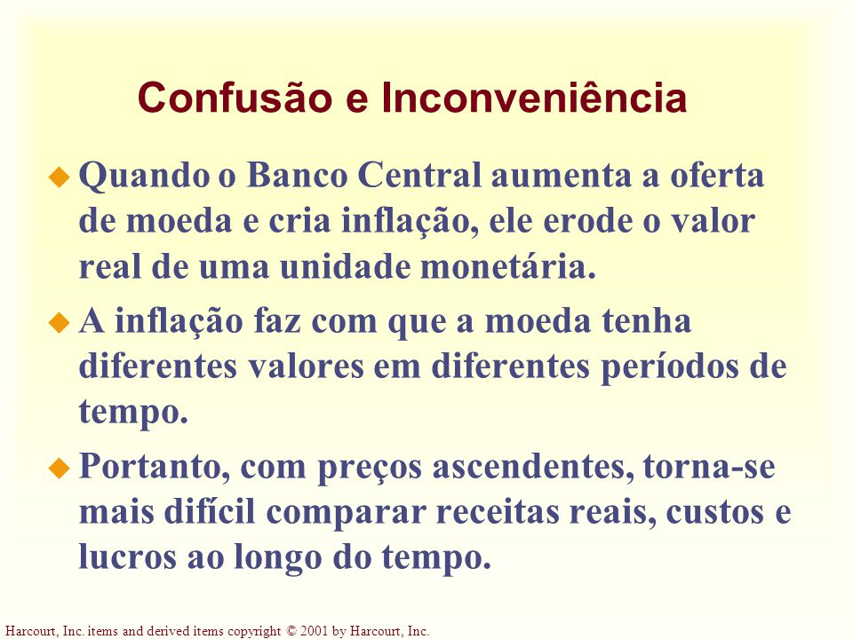 Harcourt, Inc. items and derived items copyright © 2001 by Harcourt, Inc. Confusão e Inconveniência u Quando o Banco Central aumenta a oferta de moeda