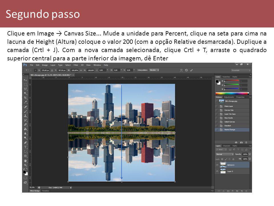 Segundo passo Clique em Image Canvas Size... Mude a unidade para Percent, clique na seta para cima na lacuna de Height (Altura) coloque o valor 200 (c
