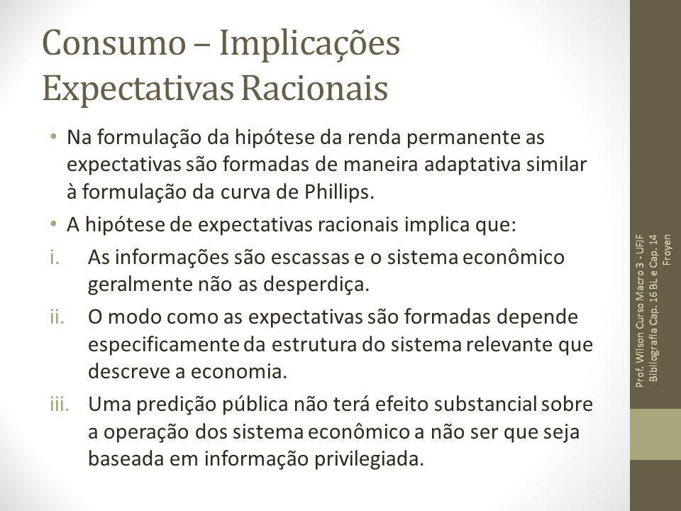 Consumo – Implicações Expectativas Racionais Na formulação da hipótese da renda permanente as expectativas são formadas de maneira adaptativa similar
