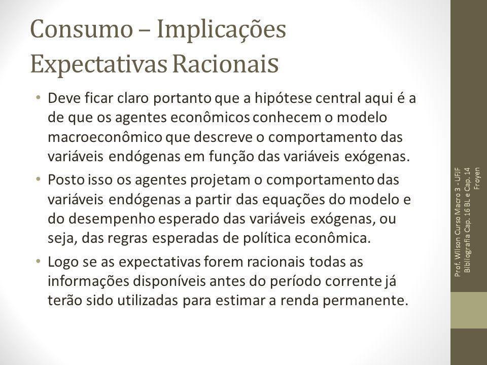 Consumo – Implicações Expectativas Racionai s Deve ficar claro portanto que a hipótese central aqui é a de que os agentes econômicos conhecem o modelo