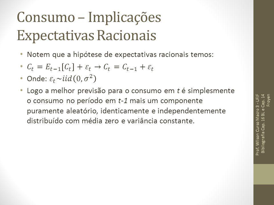 Consumo – Implicações Expectativas Racionais Prof. Wilson Curso Macro 3 - UFJF Bibliografia Cap. 16 BL e Cap. 14 Froyen