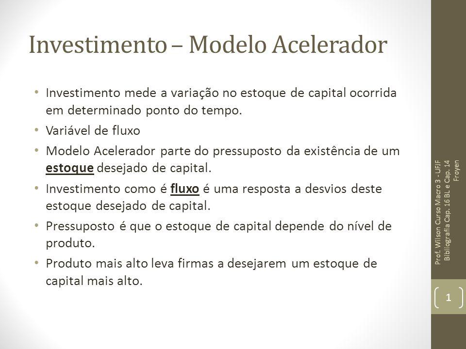 Investimento – Modelo Acelerador Investimento mede a variação no estoque de capital ocorrida em determinado ponto do tempo. Variável de fluxo Modelo A