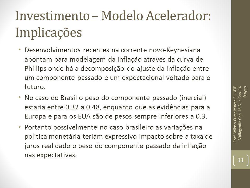 Investimento – Modelo Acelerador: Implicações Desenvolvimentos recentes na corrente novo-Keynesiana apontam para modelagem da inflação através da curv