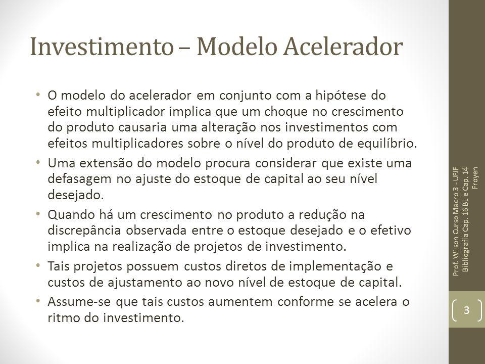 Investimento – Modelo Acelerador O modelo do acelerador em conjunto com a hipótese do efeito multiplicador implica que um choque no crescimento do pro