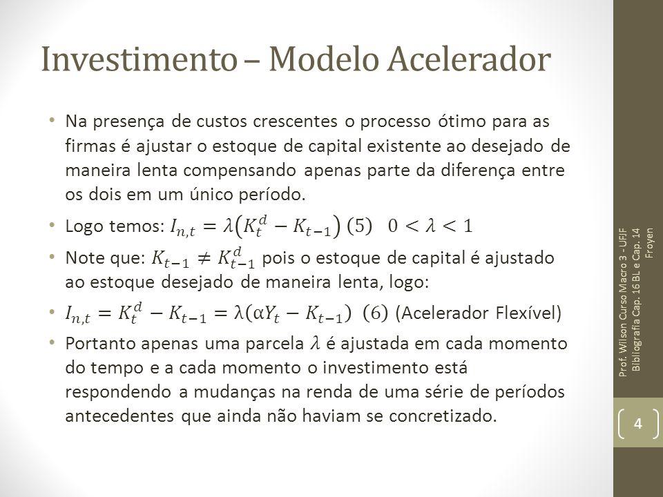 Investimento – Modelo Acelerador Prof. Wilson Curso Macro 3 - UFJF Bibliografia Cap. 16 BL e Cap. 14 Froyen 4