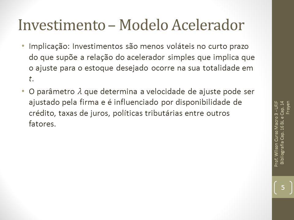 Investimento – Modelo Acelerador e Custos Capital Na equação (1) o estoque do capital é múltiplo fixo do produto.