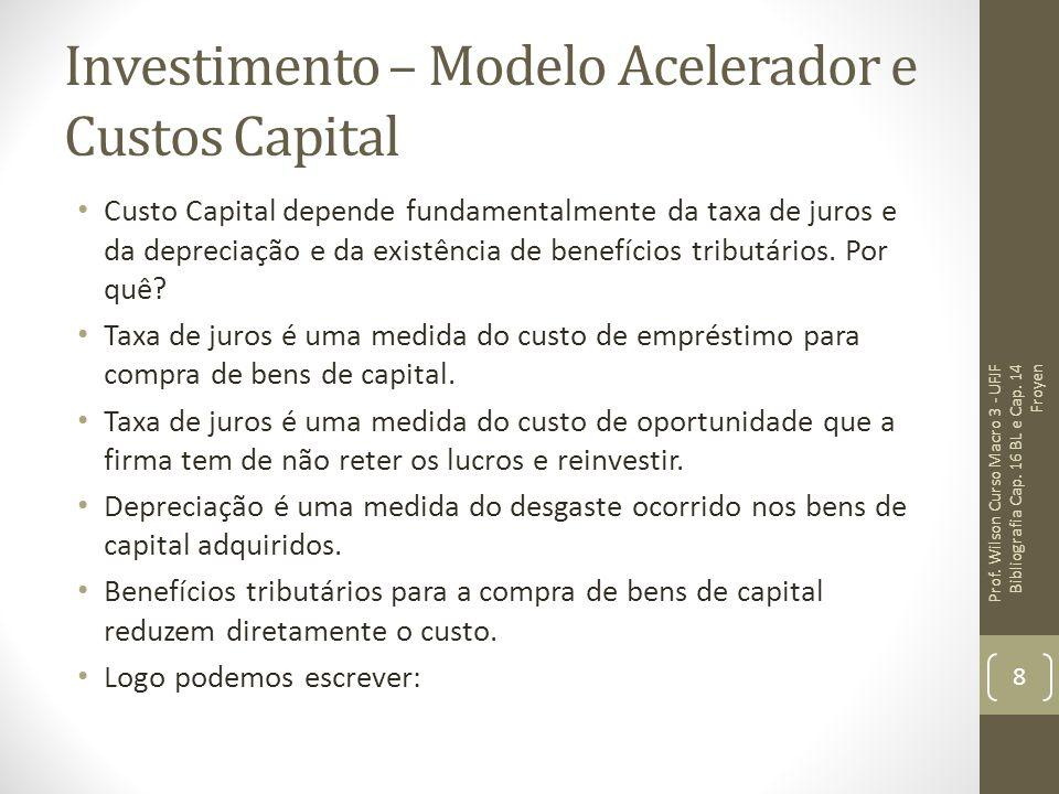 Investimento – Modelo Acelerador e Custos Capital Custo Capital depende fundamentalmente da taxa de juros e da depreciação e da existência de benefícios tributários.