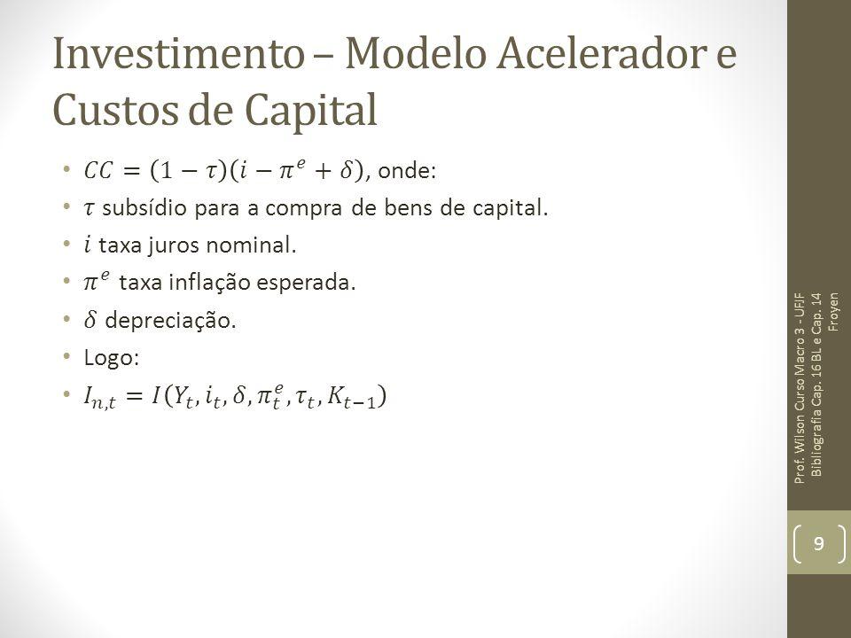 Investimento – Modelo Acelerador: Implicações Como o investimento depende da taxa de juros real os efeitos da política monetária dependem em quanto alterações na taxa de juros nominal são efetivamente transferidas para a taxa de juros real.