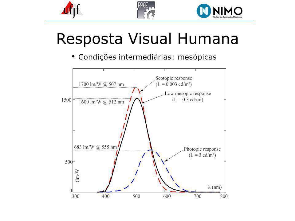 Resposta Visual Humana Condições intermediárias: mesópicas