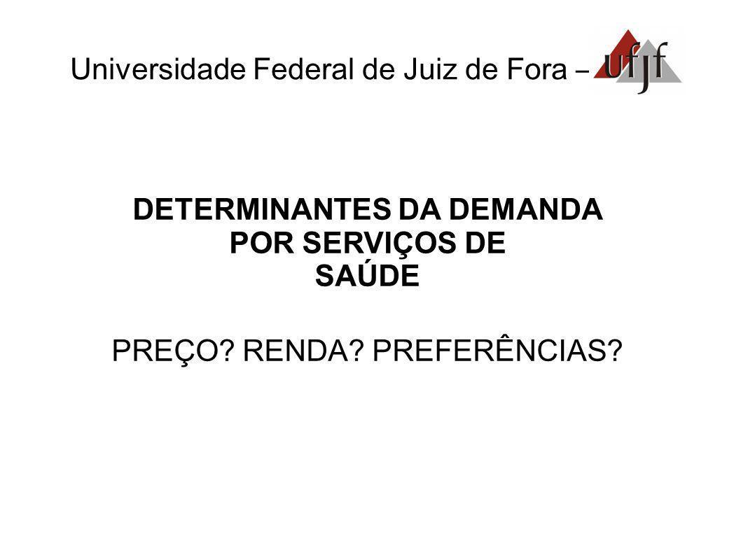 Universidade Federal de Juiz de Fora – DETERMINANTES DA DEMANDA POR SERVIÇOS DE SAÚDE PREÇO? RENDA? PREFERÊNCIAS?