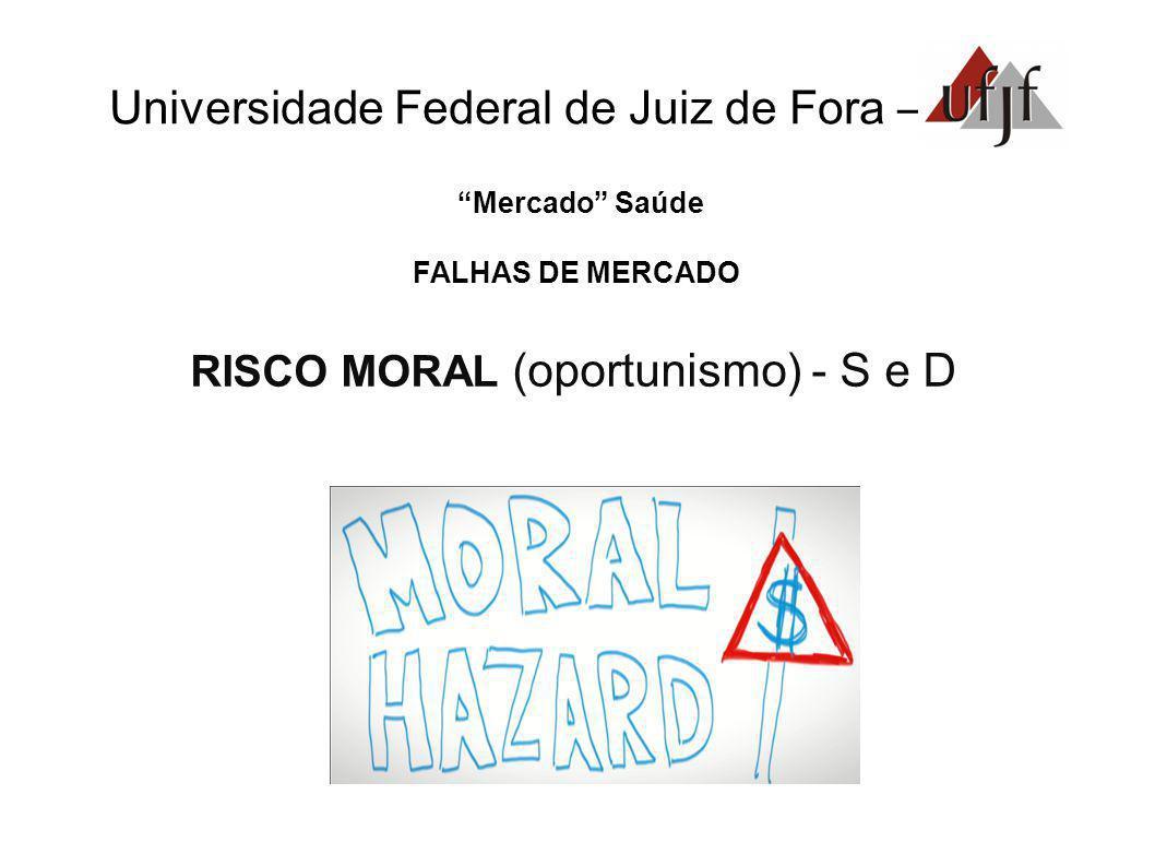 Universidade Federal de Juiz de Fora – Mercado Saúde FALHAS DE MERCADO RISCO MORAL (oportunismo) - S e D