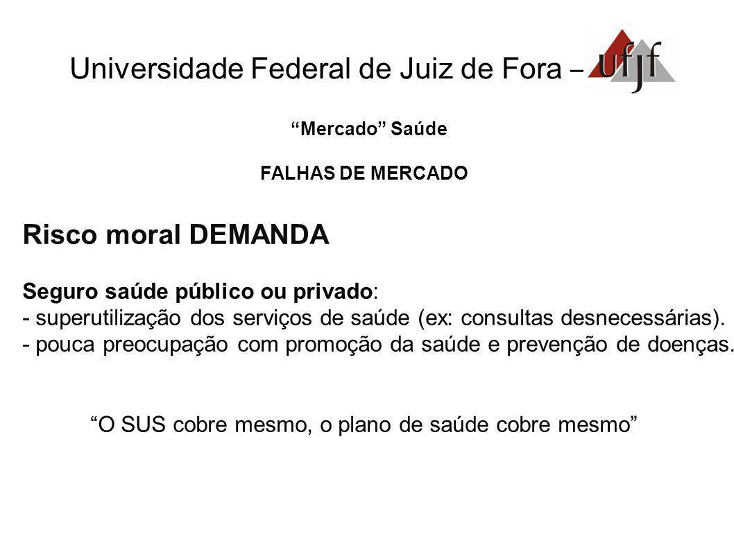 Mercado Saúde FALHAS DE MERCADO Risco moral DEMANDA Seguro saúde público ou privado: - superutilização dos serviços de saúde (ex: consultas desnecessá