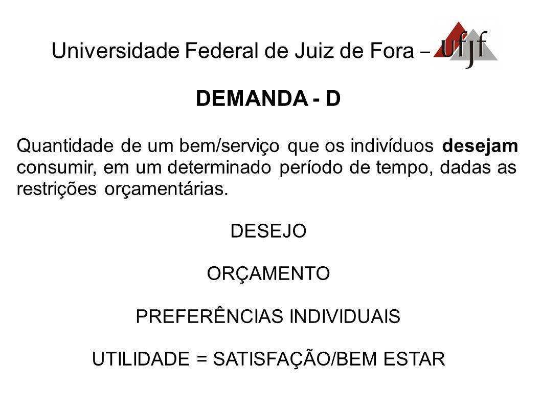 Universidade Federal de Juiz de Fora – DEMANDA - D Quantidade de um bem/serviço que os indivíduos desejam consumir, em um determinado período de tempo