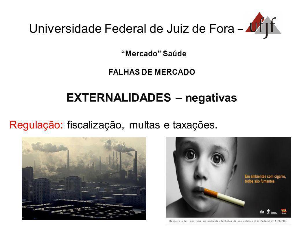 Mercado Saúde FALHAS DE MERCADO EXTERNALIDADES – negativas Regulação: fiscalização, multas e taxações.