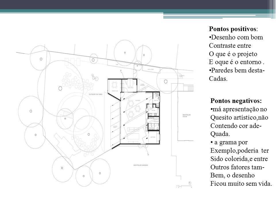 Pontos positivos: Desenho com bom Contraste entre O que é o projeto E oque é o entorno.