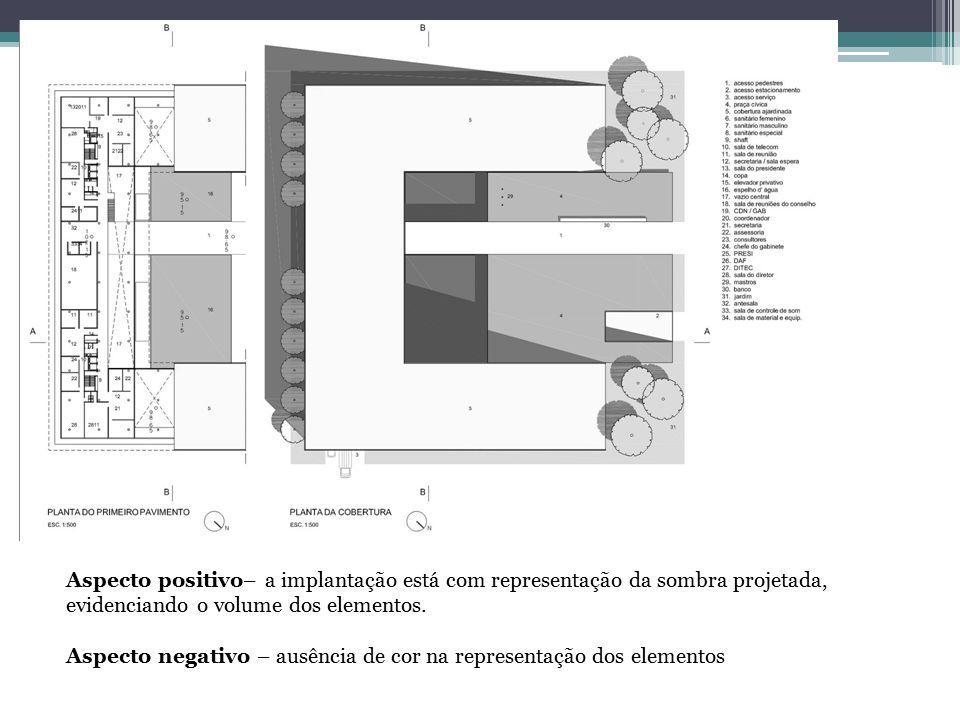 Aspecto positivo– a implantação está com representação da sombra projetada, evidenciando o volume dos elementos.