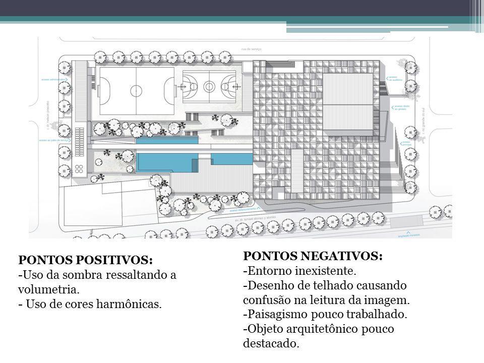 PONTOS POSITIVOS: -Uso de sombra para conferir volume á arquitetura.