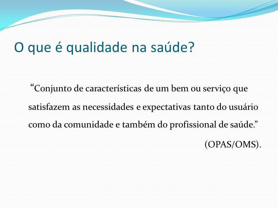 O que é qualidade na saúde? Conjunto de características de um bem ou serviço que satisfazem as necessidades e expectativas tanto do usuário como da co