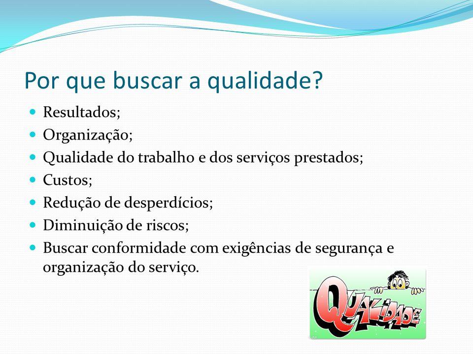 Por que buscar a qualidade? Resultados; Organização; Qualidade do trabalho e dos serviços prestados; Custos; Redução de desperdícios; Diminuição de ri