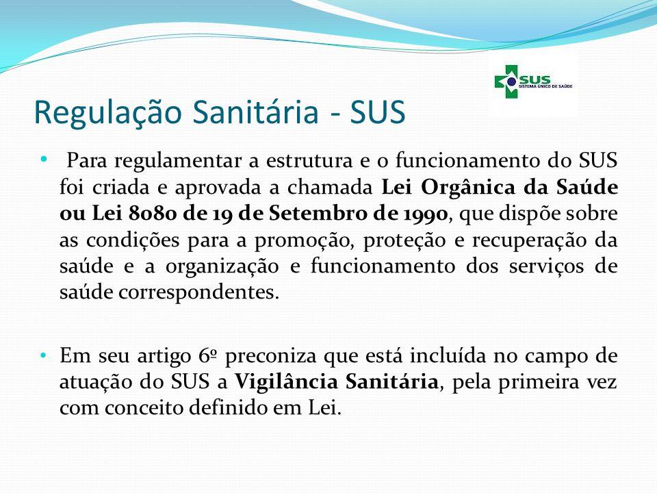 Regulação Sanitária - SUS Para regulamentar a estrutura e o funcionamento do SUS foi criada e aprovada a chamada Lei Orgânica da Saúde ou Lei 8080 de