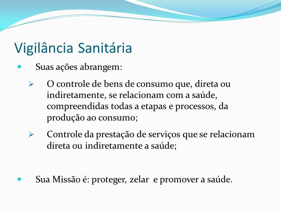 Vigilância Sanitária Suas ações abrangem: O controle de bens de consumo que, direta ou indiretamente, se relacionam com a saúde, compreendidas todas a
