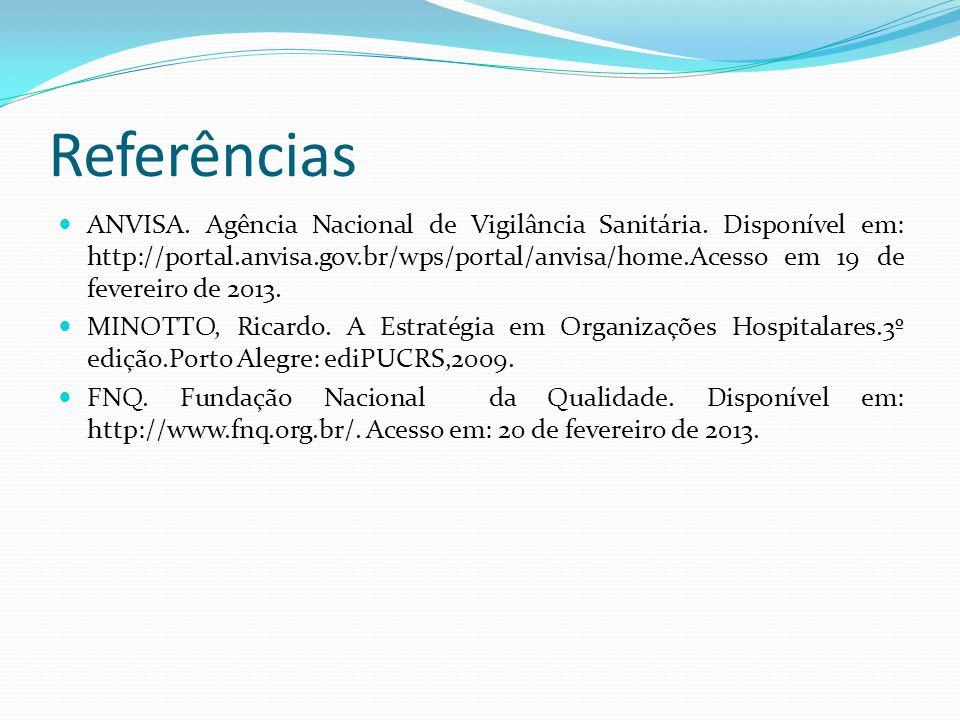 Referências ANVISA. Agência Nacional de Vigilância Sanitária. Disponível em: http://portal.anvisa.gov.br/wps/portal/anvisa/home.Acesso em 19 de fevere