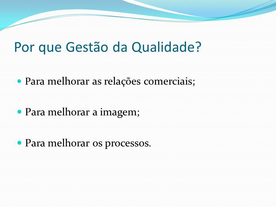Por que Gestão da Qualidade? P ara melhorar as relações comerciais; Para melhorar a imagem; Para melhorar os processos.