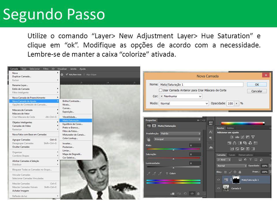 Segundo Passo Utilize o comando Layer> New Adjustment Layer> Hue Saturation e clique em ok.