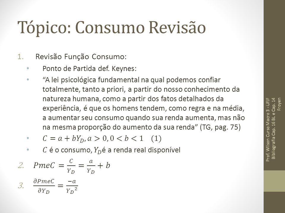 Tópico: Consumo Revisão Prof. Wilson Curso Macro 3 - UFJF Bibliografia Cap. 16 BL e Cap. 14 Froyen
