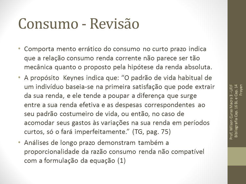 Consumo - Revisão Comporta mento errático do consumo no curto prazo indica que a relação consumo renda corrente não parece ser tão mecânica quanto o proposto pela hipótese da renda absoluta.
