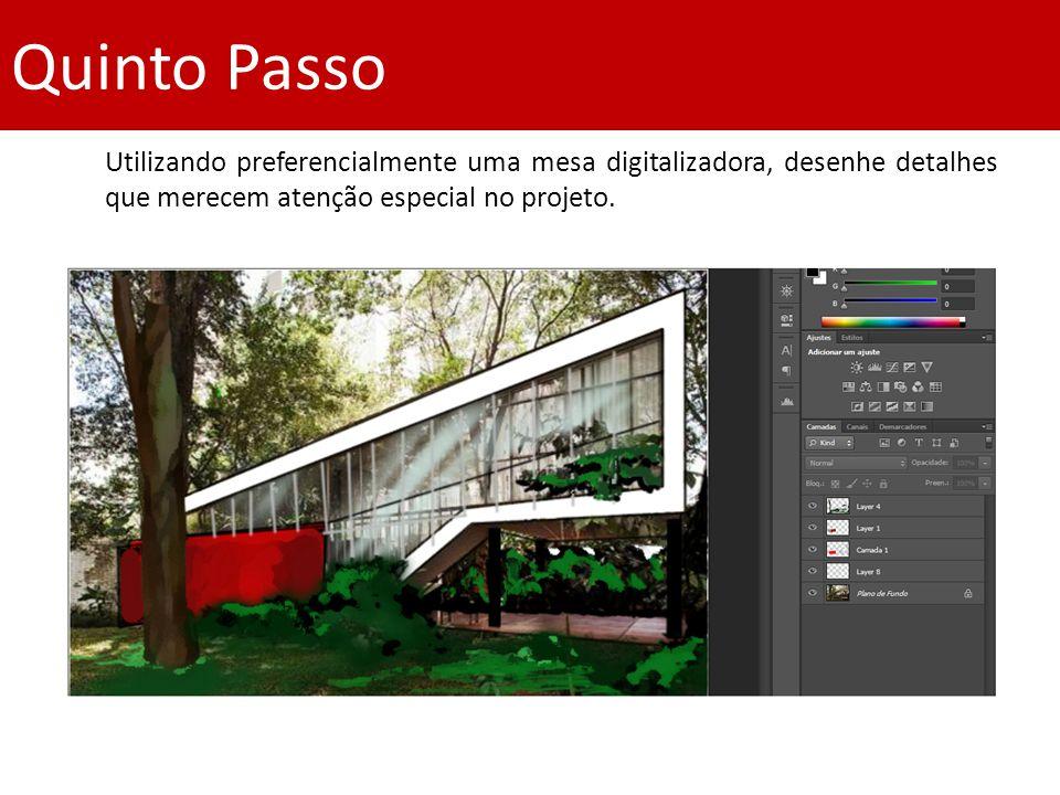 Quinto Passo Utilizando preferencialmente uma mesa digitalizadora, desenhe detalhes que merecem atenção especial no projeto.
