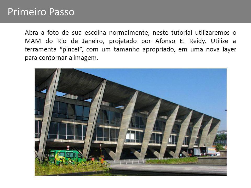 Abra a foto de sua escolha normalmente, neste tutorial utilizaremos o MAM do Rio de Janeiro, projetado por Afonso E. Reidy. Utilize a ferramenta pince