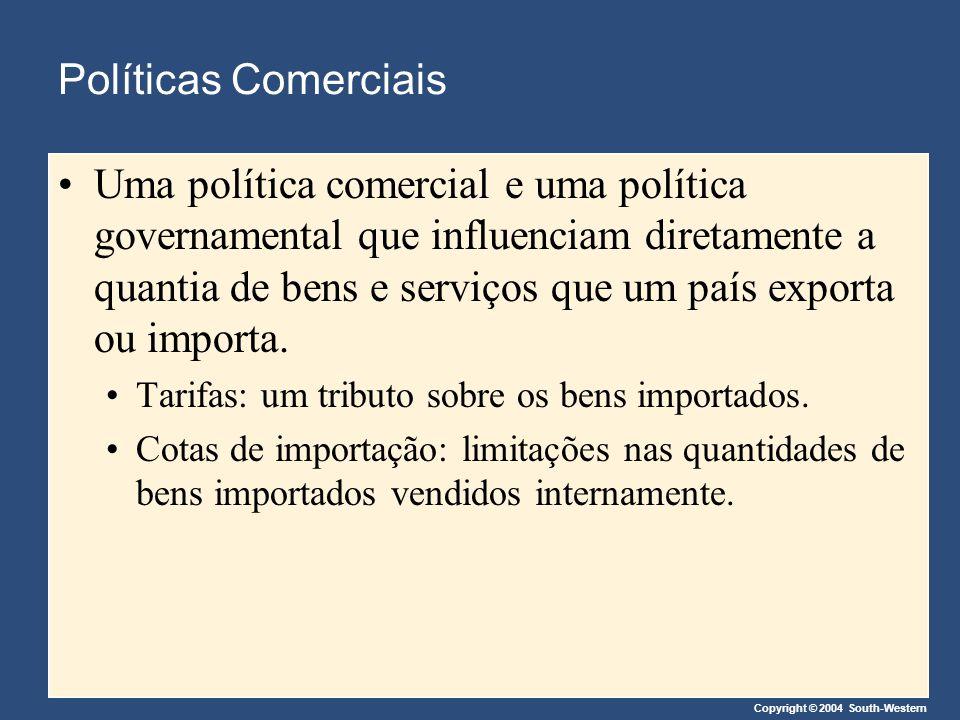 Copyright © 2004 South-Western Políticas Comerciais Uma política comercial e uma política governamental que influenciam diretamente a quantia de bens