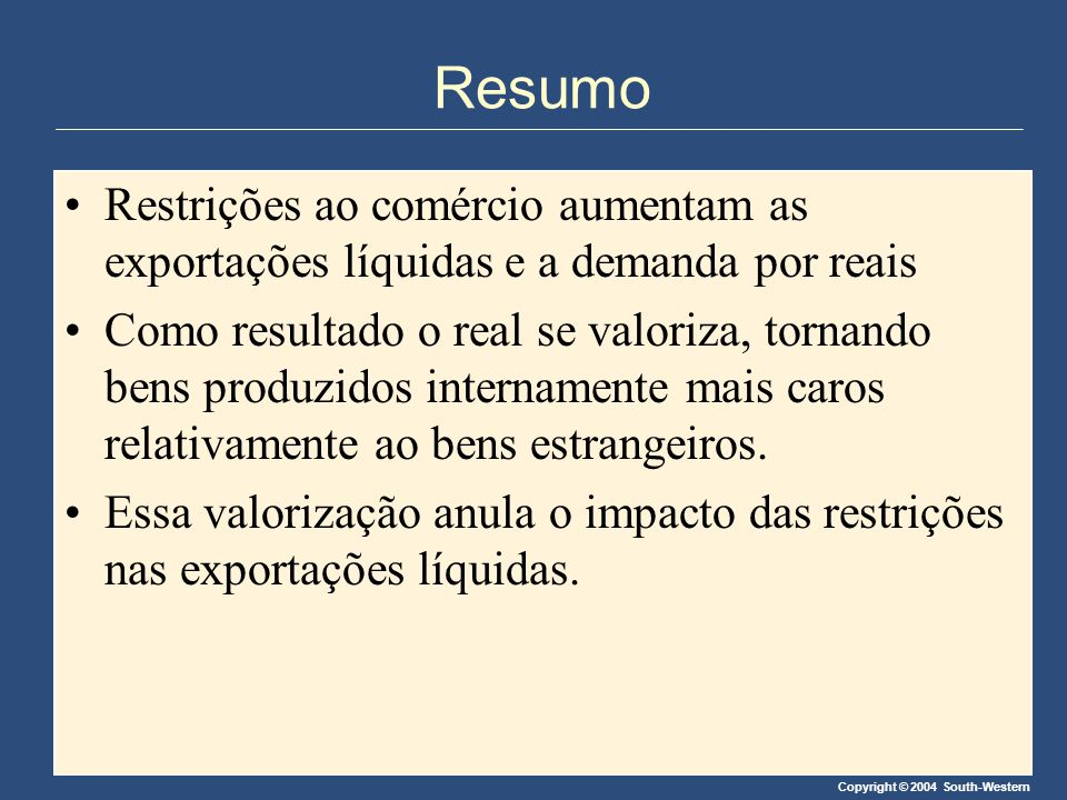 Copyright © 2004 South-Western Resumo Restrições ao comércio aumentam as exportações líquidas e a demanda por reais Como resultado o real se valoriza,