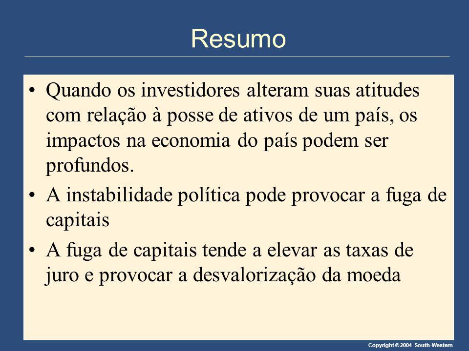 Copyright © 2004 South-Western Resumo Quando os investidores alteram suas atitudes com relação à posse de ativos de um país, os impactos na economia d