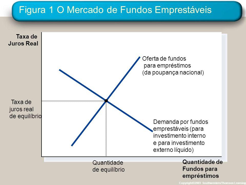 Copyright © 2004 South-Western O Mercado de Fundos para Empréstimos À taxa de juros de equilíbrio, a quantia que as pessoas desejam poupar equilibra exatamente a quantia desejada de investimento interno e de investimento externo líquido.