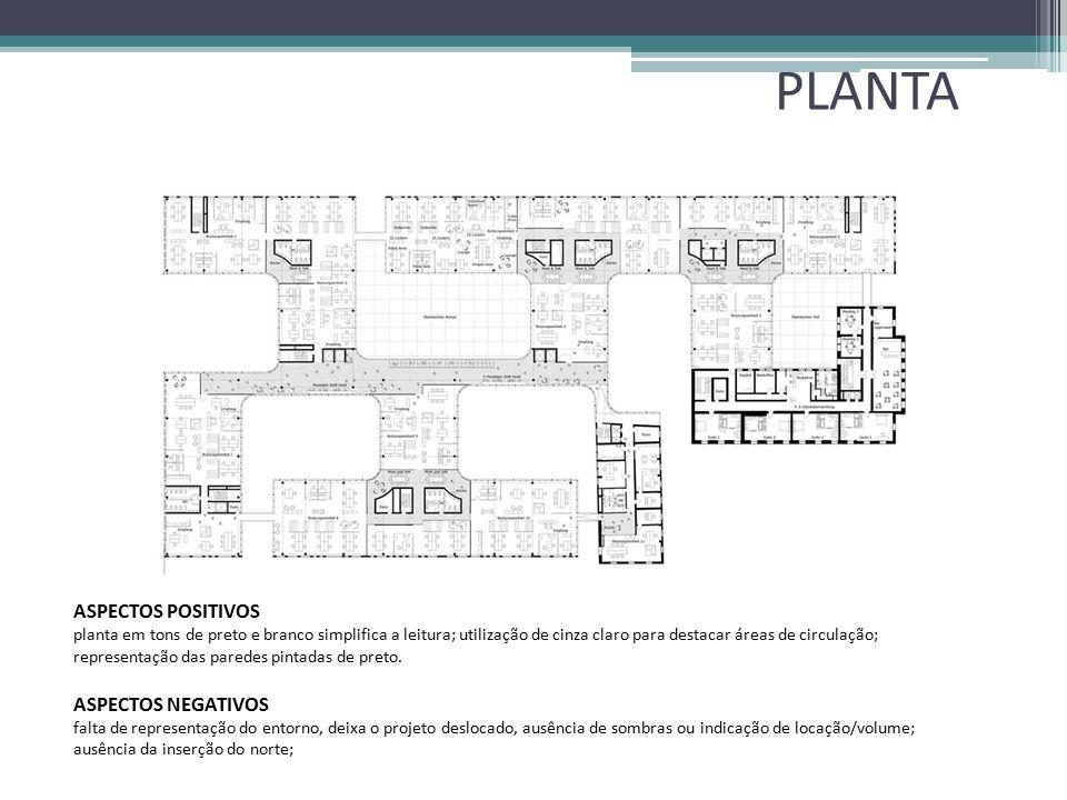 PLANTA ASPECTOS POSITIVOS planta em tons de preto e branco simplifica a leitura; utilização de cinza claro para destacar áreas de circulação; represen