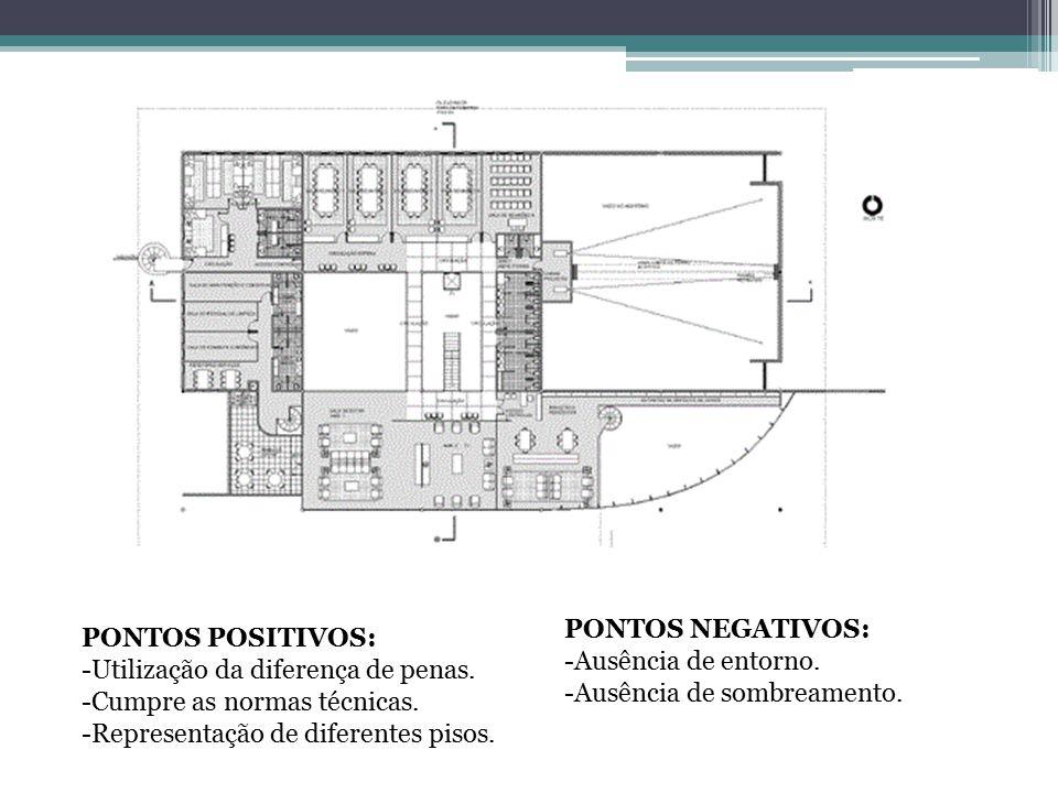 PONTOS POSITIVOS: -Utilização da diferença de penas. -Cumpre as normas técnicas. -Representação de diferentes pisos. PONTOS NEGATIVOS: -Ausência de en