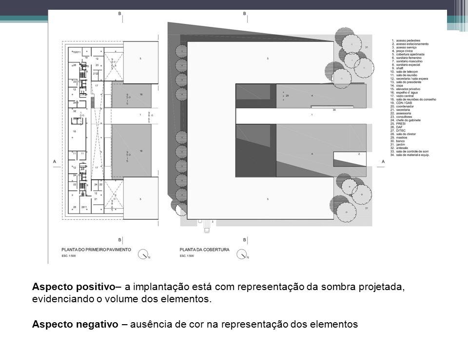 Aspecto positivo– a implantação está com representação da sombra projetada, evidenciando o volume dos elementos. Aspecto negativo – ausência de cor na