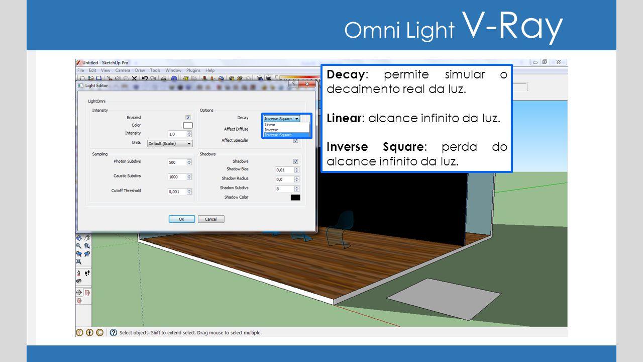 Omni Light V-Ray Decay : permite simular o decaimento real da luz. Linear : alcance infinito da luz. Inverse Square : perda do alcance infinito da luz
