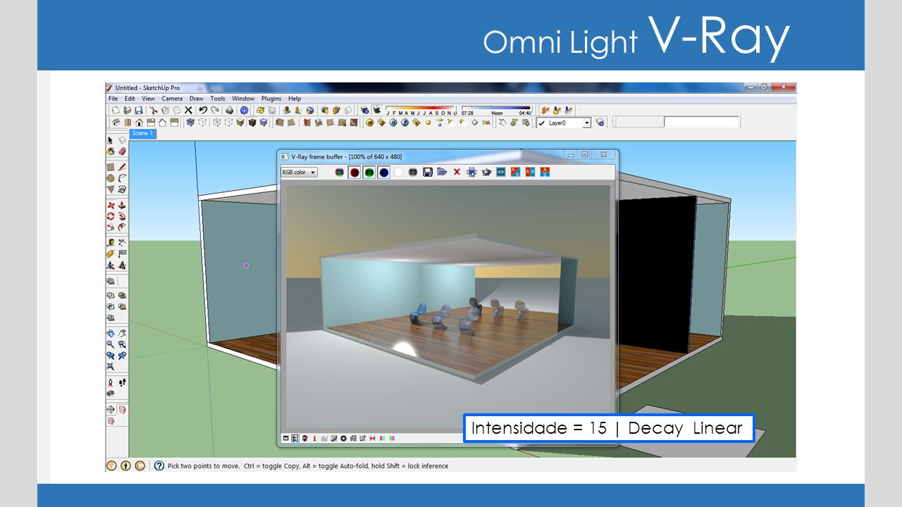Omni Light V-Ray Intensidade = 15 | Decay Linear
