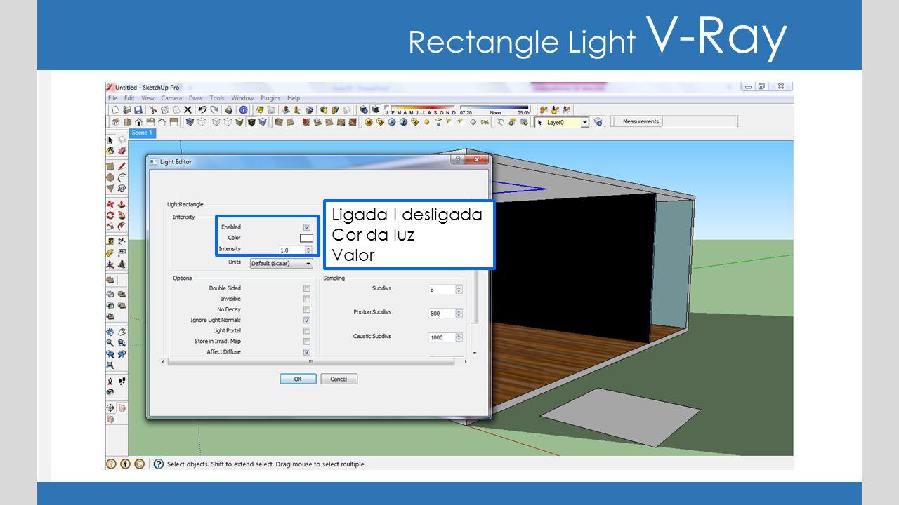 Rectangle Light V-Ray Double Sided : ativado, emissão de luz dos dois lados.