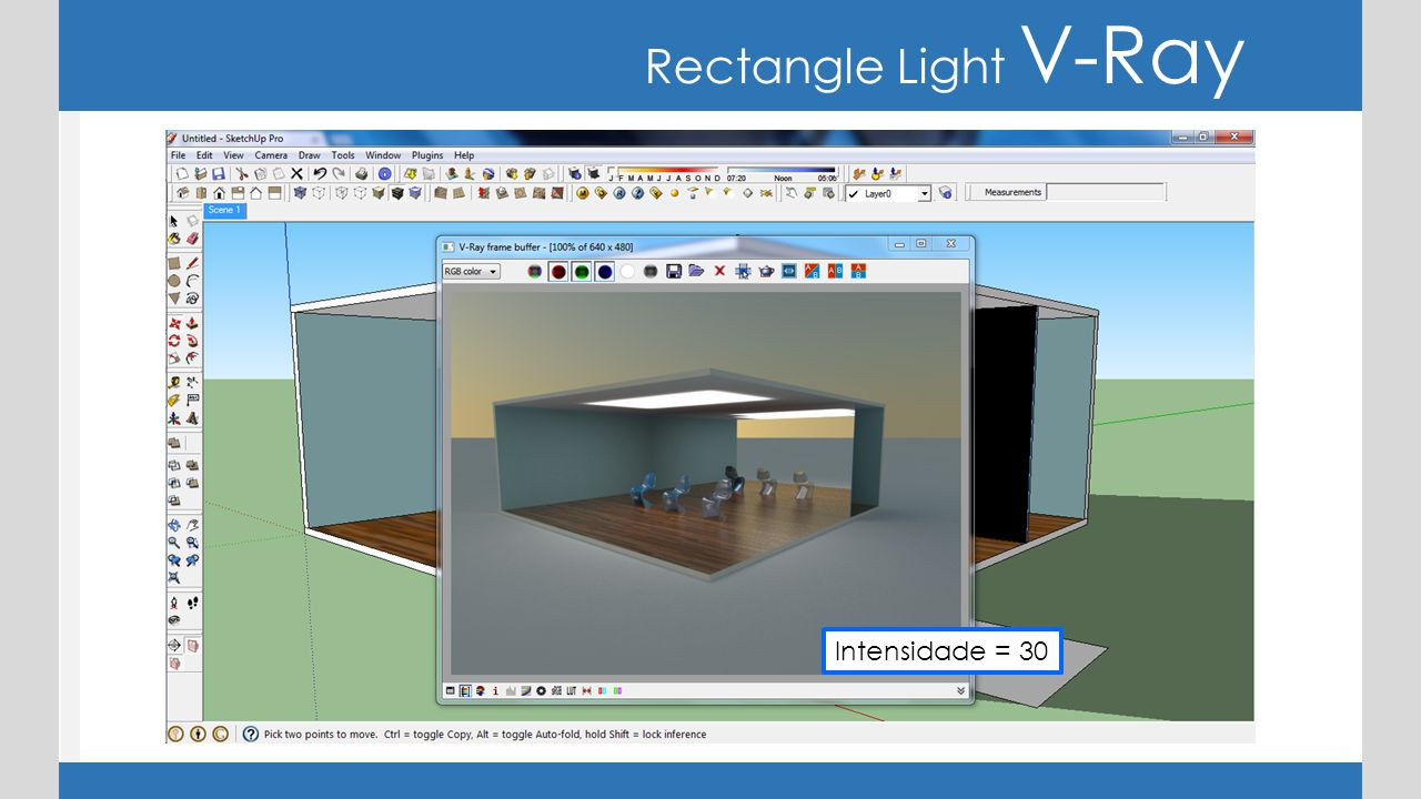 Rectangle Light V-Ray Intensidade = 30