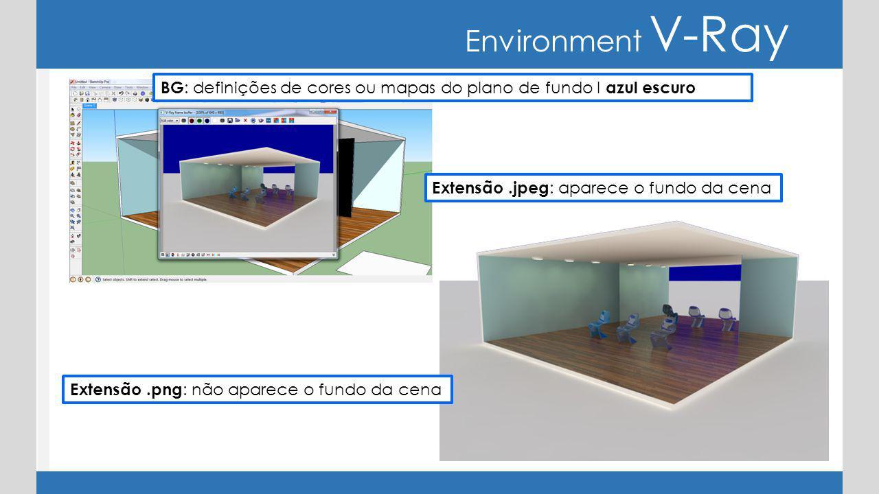 Environment V-Ray BG : definições de cores ou mapas do plano de fundo I azul escuro Extensão.png : não aparece o fundo da cena Extensão.jpeg : aparece o fundo da cena