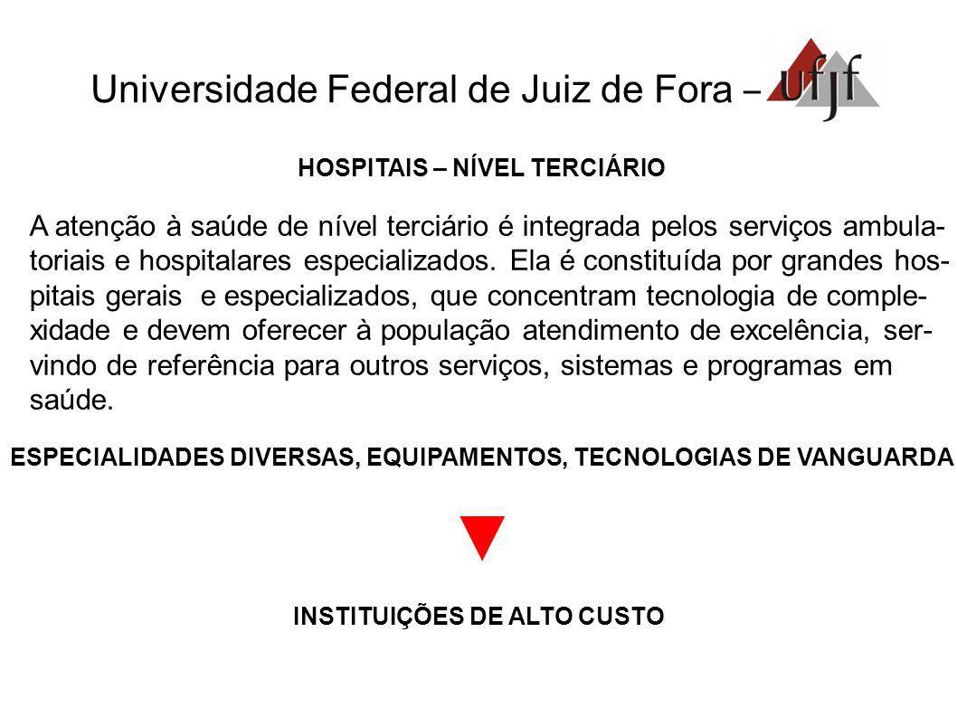Universidade Federal de Juiz de Fora – HOSPITAIS – NÍVEL TERCIÁRIO A atenção à saúde de nível terciário é integrada pelos serviços ambula- toriais e hospitalares especializados.