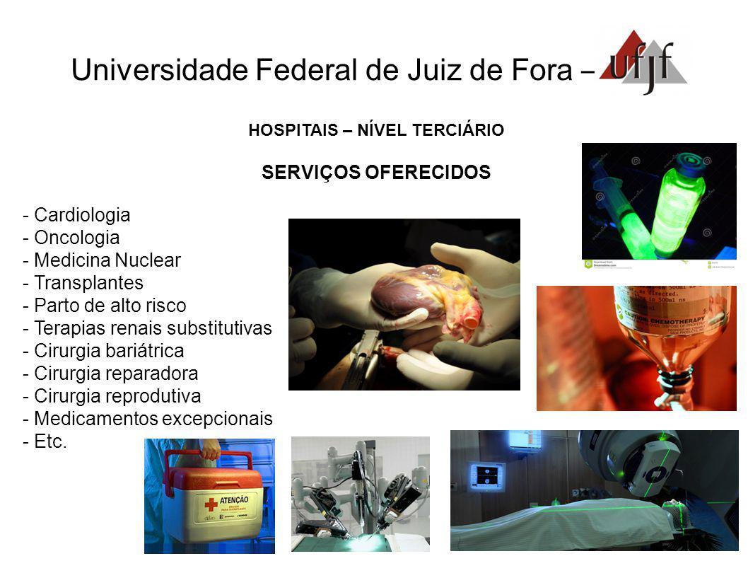 Universidade Federal de Juiz de Fora – HOSPITAIS – NÍVEL TERCIÁRIO SERVIÇOS OFERECIDOS - Cardiologia - Oncologia - Medicina Nuclear - Transplantes - P