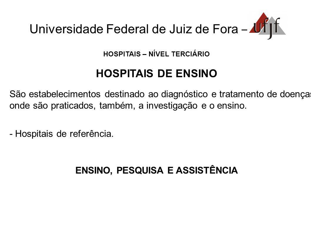 Universidade Federal de Juiz de Fora – HOSPITAIS – NÍVEL TERCIÁRIO HOSPITAIS DE ENSINO São estabelecimentos destinado ao diagnóstico e tratamento de d