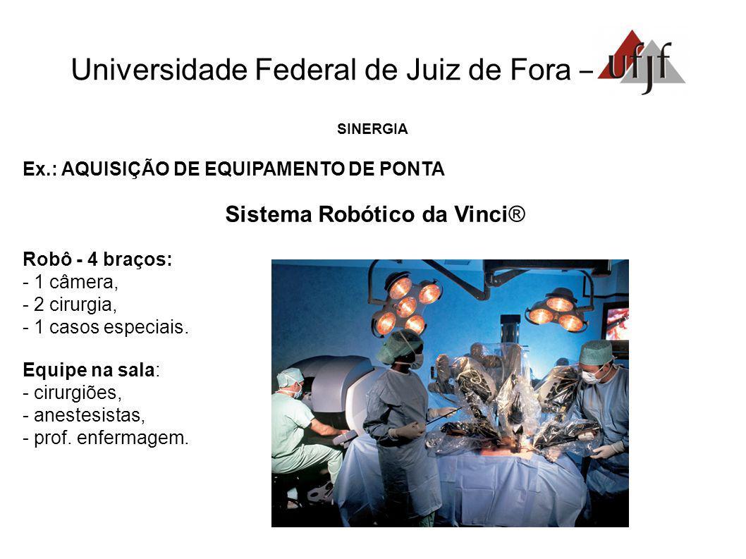 Universidade Federal de Juiz de Fora – SINERGIA Ex.: AQUISIÇÃO DE EQUIPAMENTO DE PONTA Sistema Robótico da Vinci® Robô - 4 braços: - 1 câmera, - 2 cirurgia, - 1 casos especiais.