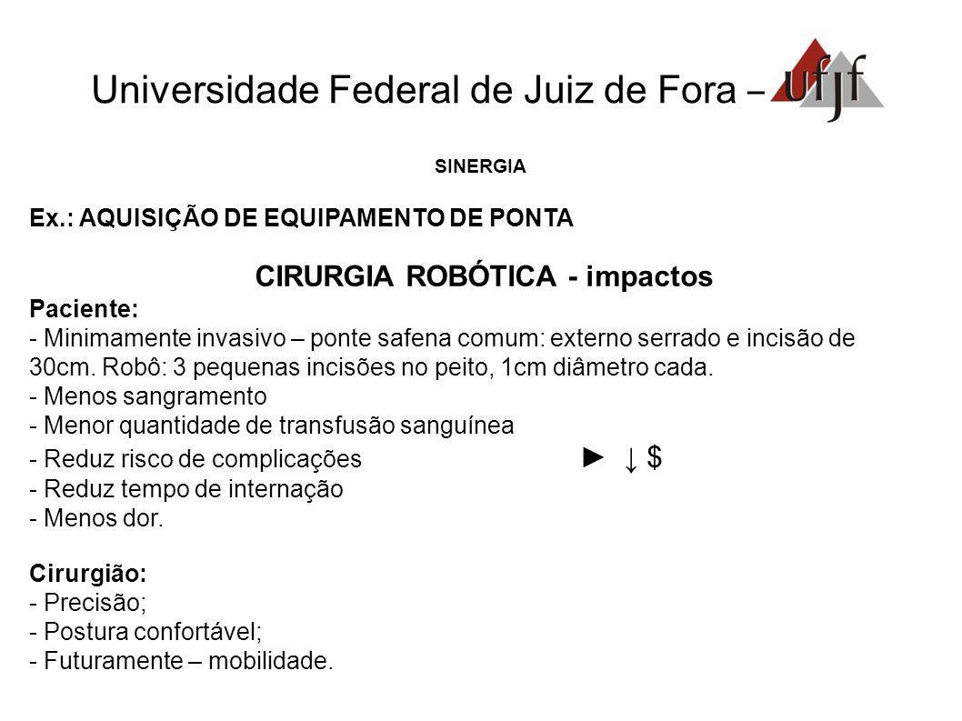 Universidade Federal de Juiz de Fora – SINERGIA Ex.: AQUISIÇÃO DE EQUIPAMENTO DE PONTA CIRURGIA ROBÓTICA - impactos Paciente: - Minimamente invasivo –