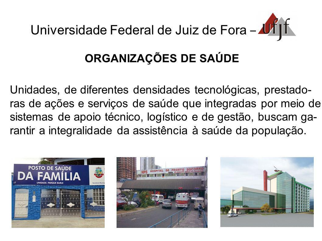 Universidade Federal de Juiz de Fora – ORGANIZAÇÕES DE SAÚDE Unidades, de diferentes densidades tecnológicas, prestado- ras de ações e serviços de saú